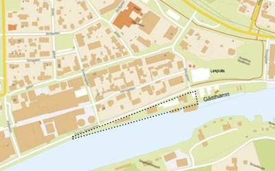 Etapp 2 av Skeppsbrons omgestaltning är markerad med svarta prickar på bilden.