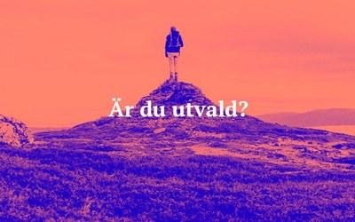 En ensam människa på en bergstopp.