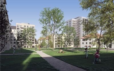 Illustration bostäder och kvarterspark, Liljewall arkitekter