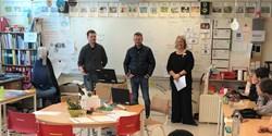 Johan K Angsmo, Krister Dagneryd och Paula Lundin träffade klass 3B på Tollarps skola.