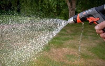 Under bevattningsförbud får du inte använda slang att vattna i trädgården.