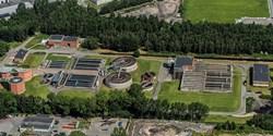 Flygbild över Centrala reningsverket i Kristianstad.