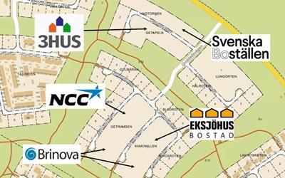 Fem byggherrar får bygga längs Täppetleden i Åhus.
