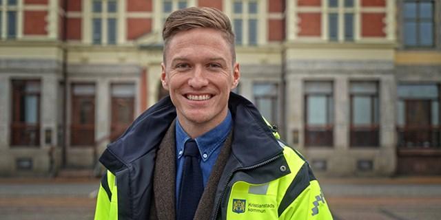 Jimmy Källström utanför sin nya arbetsplats i Rådhus Skåne.