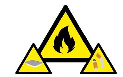 Gula varningstrianglar med eld, grill och cigarett