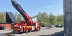 Brandbil på övningsplatsen