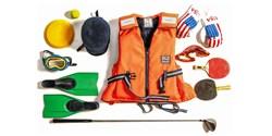 Exempel på sport- och friluftsutrustning en kan skänka till Fritidsbanken för gratis utlåning