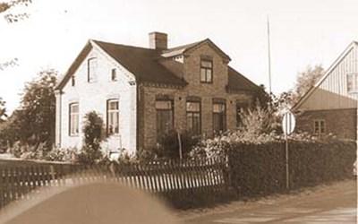 Norregatan, västra sidan, på platsen för nuv. Köpmannagatan, fr SÖ, Åhus, 1970.