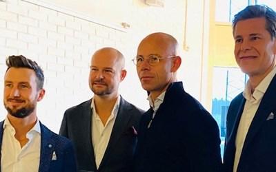 Fyra lokala entreprenörer har gått in och bildat flygbolaget Skåneflyg. Jacob Karlsson, Carl-Henrik Dahlqvist, Fredrik Rosengren och Henrik Persson Ekdahl (ej med på bilden) är finansiärerna. Längst till höger är Sam Giertz, styrelseordförande i det nybildade bolaget.