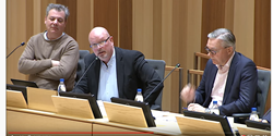 Pierre Månsson, kommunalråd, Håkan Sventorp Ekonom och Mikael Forsberg, Sparbanken Skåne deltog vid den livesända nätverksträffen för näringslivet.