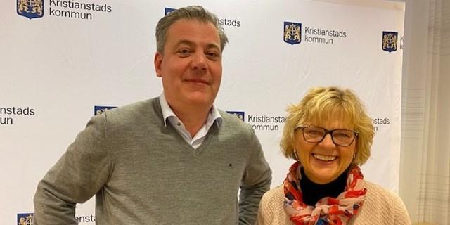 Pierre Månsson (L), kommunalråd och Eva-Marie Hagström, tf näringslivschef, presenterade kommunens stödpaket för det lokala näringslivet vid en presskonferens under fredagseftermiddagen.