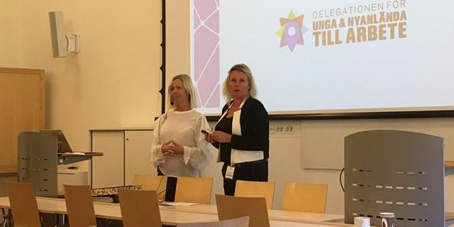Projektet Arbetslivskunskap för nyanlända elever på IM-programmen där Heidi Bein är projektledare var ett av ämnena som diskuterades tillsammans med Tina Gunnarsson, sektionschef Arbetsförmedlingen.